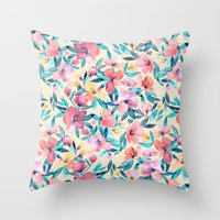 Peach Spring Floral in Watercolors Throw Pillow