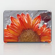 iPad Case featuring Orange Sunflower On Wood by Regan's World