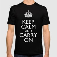 Keep Calm and Carry On Mens Fitted Tee Black SMALL