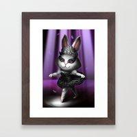 Black swan bunny Framed Art Print