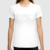 Hands are all the same Womens Fitted Tee White SMALL