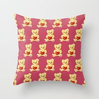 Cute Teddy Bears Pink Pa… Throw Pillow