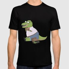 Hipster Dinosaur Jammin' on his Fiddle Mens Fitted Tee SMALL Black