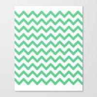funky chevron mint pattern Canvas Print