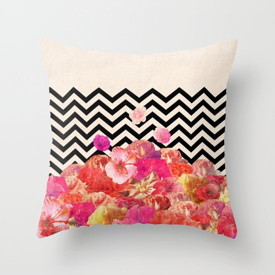 Chevron Flora II Throw Pillow