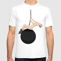 Miley Cyrus - Wrecking Ball Mens Fitted Tee White SMALL
