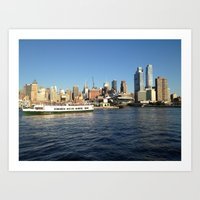Manhattan, New York City, View from Hudson River Art Print