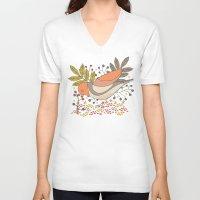Wild Berry Garden Bird Unisex V-Neck