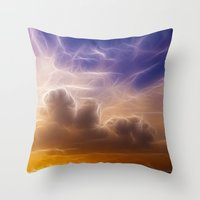 Fractal skies sunset Throw Pillow