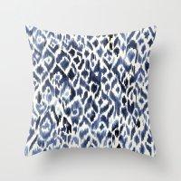 Indigo Ikat Pattern Throw Pillow