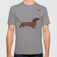 Dachshund Sausage dog Mens Fitted Tee Athletic Grey SMALL