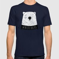 Winter Rocks Mens Fitted Tee Navy SMALL