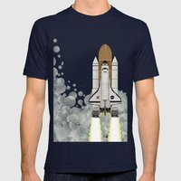 Space Shuttle Mens Fitted Tee Navy SMALL