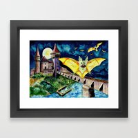 Halloween Landscape with Bats and Transylvanian Castle Framed Art Print