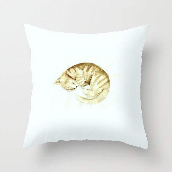 Sleeping kitty Throw Pillow