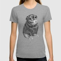 Sweet Black Pug Womens Fitted Tee Tri-Grey SMALL