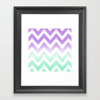 GREEN & PURPLE CHEVRON FADE Framed Art Print