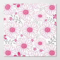 Cerise and Gray Floral Pattern Canvas Print