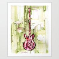 red on green gutair Art Print