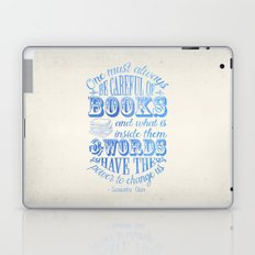 Be Careful Of Books - White and Blue Laptop & iPad Skin