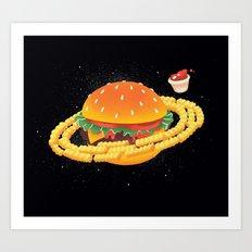 Galactic Cheeseburger & Fries Art Print