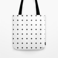 Black Plus On White /// … Tote Bag