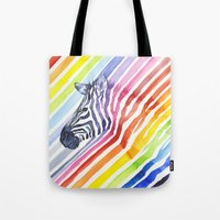 Rainbow Zebra Pattern (square) Tote Bag