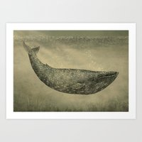 Damask Whale  Art Print
