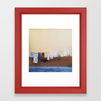 Drying laundry Framed Art Print