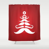 Santa's Mustache Christmas Tree Shower Curtain