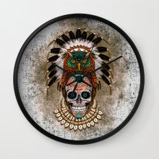 indian native Owl sugar Skull iPhone 4 4s 5 5c 6, ipod, ipad, pillow case Wall Clock