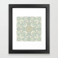 Soft Sage & Cream hand drawn floral pattern Framed Art Print