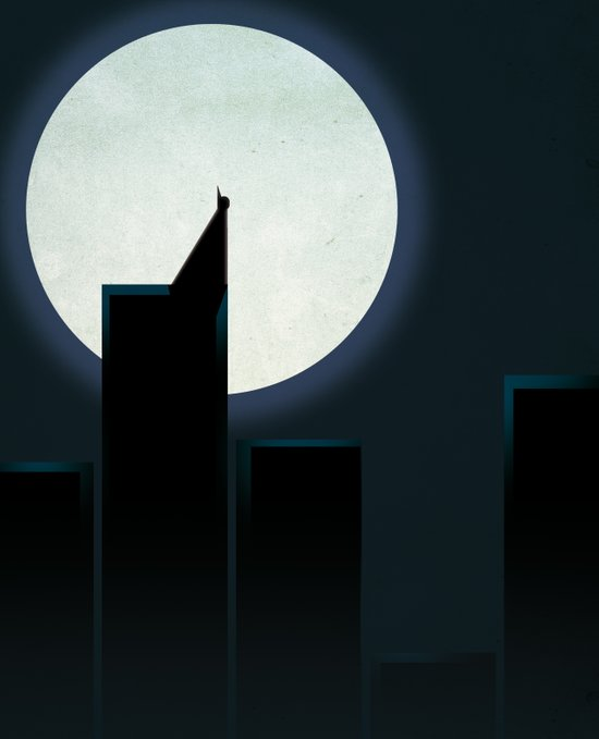 Smooth Heroes - A dark knight in front of the moon Art Print