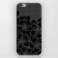 Cherry Blossom Grid Black iPhone & iPod Skin