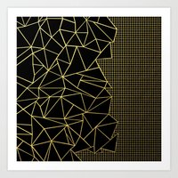Abstract Outline Grid Go… Art Print