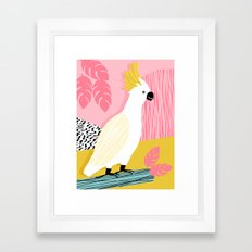 FeelFree - memphis throwback retro bird tropical nature animal parrot cockatoo 1980s 80s pop art Framed Art Print
