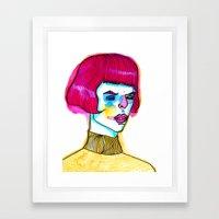 pink hair yellow sweater Framed Art Print