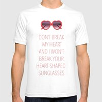 DON'T BREAK MY HEART Mens Fitted Tee White SMALL