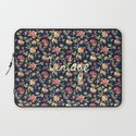 Vintage Elegant Pink and Red Roses Floral Pattern Laptop Sleeve