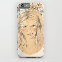 iPhone & iPod Case featuring Girl with flower frame by Annie illustrations