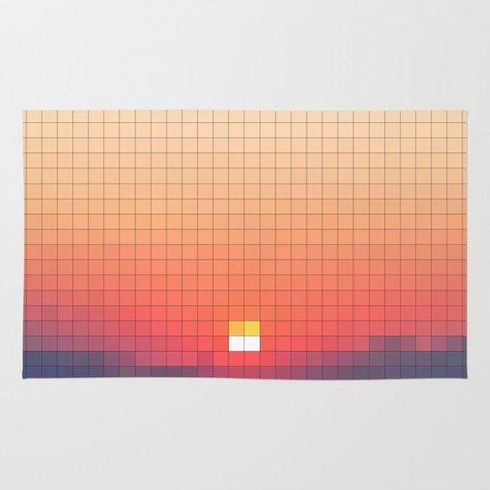 Geometric Sunset Area & Throw Rug