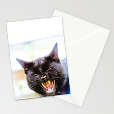 Angry black cat Stationery Cards