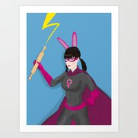 Fantastic Fighting Femal… Art Print