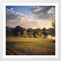 Golden Light Sunset Landscape Art Print