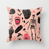 Throw Pillow featuring Whole Lotta Horror by Josh Ln