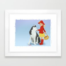 Little red and the Wolf Framed Art Print