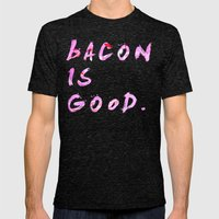 Watercolour Bacon Patter… Mens Fitted Tee Tri-Black SMALL