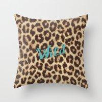 Leopard Print Teal Blue … Throw Pillow