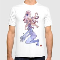 Octopus Man Can't Wait N… Mens Fitted Tee White SMALL