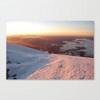 Sunrise above the earth - 14,411 feet Mt. Rainier Canvas Print